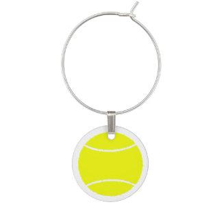 白の黄色および白いテニス・ボール ワインチャーム