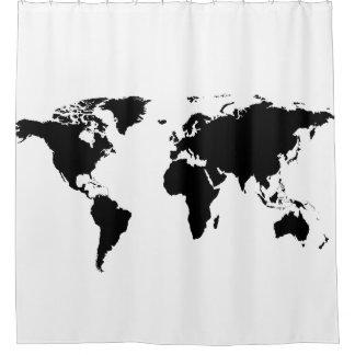 白の黒い世界地図 シャワーカーテン