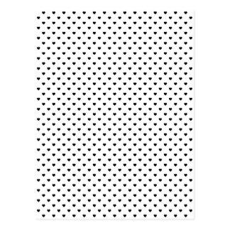 白の黒い水玉模様のハート ポストカード