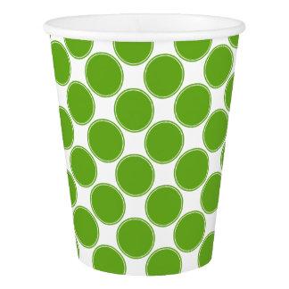 白のAppleの緑の水玉模様 紙コップ