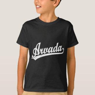 白のArvadaの原稿のロゴ Tシャツ