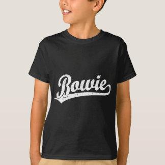 白のBowieの原稿のロゴ Tシャツ