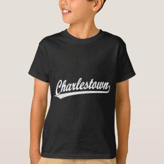 白のCharlestownの原稿のロゴ Tシャツ