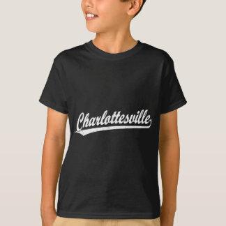 白のCharlottesvilleの原稿のロゴ Tシャツ