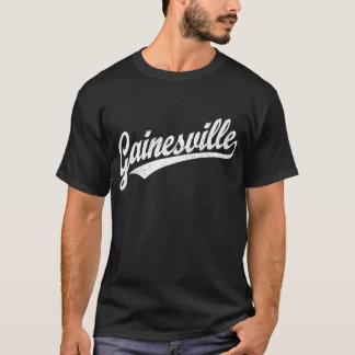 白のGainesvilleの原稿のロゴ Tシャツ