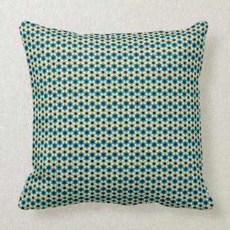 白のGemoetricの八角形のturquoisパターン クッション