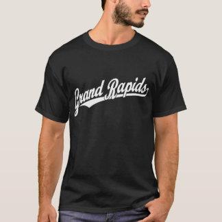 白のGrand Rapidsの原稿のロゴ Tシャツ