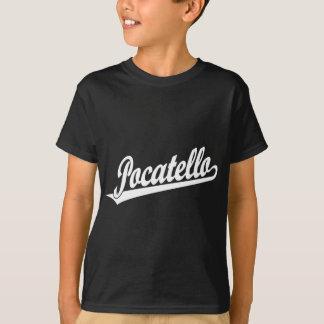 白のPocatelloの原稿のロゴ Tシャツ