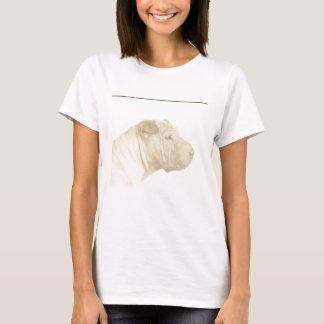 白のSharブロンドのPeiのポートレート Tシャツ
