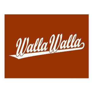 白のWalla Wallaの原稿のロゴ ポストカード