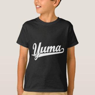白のYumaの原稿のロゴ Tシャツ