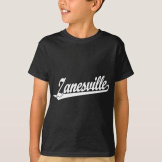 白のZanesvilleの原稿のロゴ Tシャツ