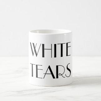 白はファンシーな文字のマグを引き裂きます コーヒーマグカップ