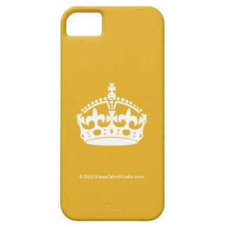 白は金ゴールドの背景の穏やかな王冠を保ちます iPhone SE/5/5s ケース
