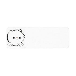 白をかいま見るポメラニア犬 ラベル