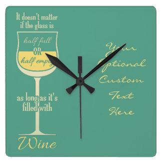 白ワインのガラスカスタムな柱時計 スクエア壁時計