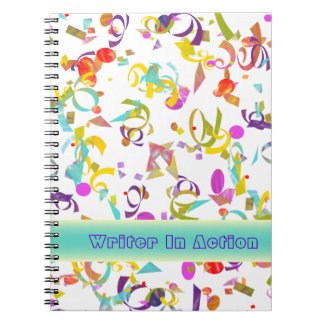 白上のカラフルな紙吹雪のトスの背景 ノートブック