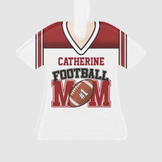白人か赤いフットボールのお母さんジャージー オーナメント