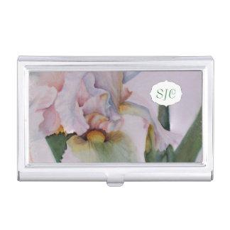 白人のアイリス水彩画の花の名刺入れ 名刺入れ