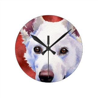 白人のジャーマン・シェパード ラウンド壁時計
