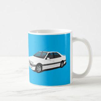 白人のプジョー405 + モデルバッジのマグ コーヒーマグカップ