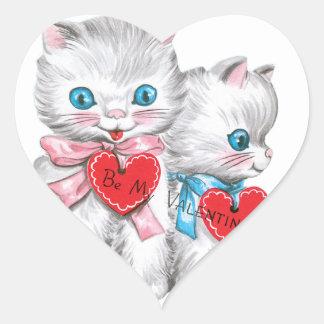 白人の子ネコのバレンタイン ハートシール