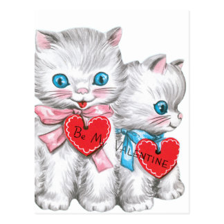 白人の子ネコのバレンタイン ポストカード