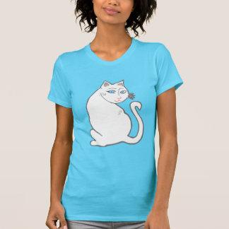 白人猫の青い目の女性のターコイズのTシャツ Tシャツ
