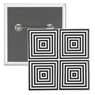 白人BGの濃紺の芸術の同心の正方形 5.1CM 正方形バッジ