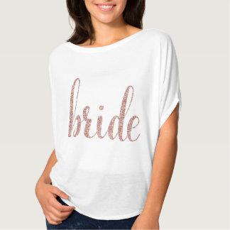 白及びばら色の金ゴールドのグリッターの花嫁のワイシャツ Tシャツ