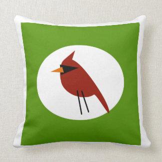 白及び緑の赤い(鳥)ショウジョウコウカンチョウ クッション