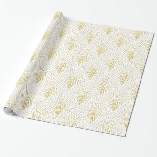 白及び金ゴールドのアールデコの継ぎ目が無いパターン 包装紙