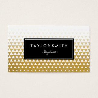 白及び金ゴールドの三角形パターン名刺 名刺
