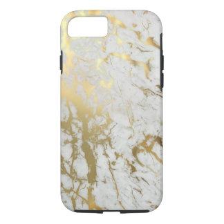 白及び金ゴールドの大理石 iPhone 7ケース