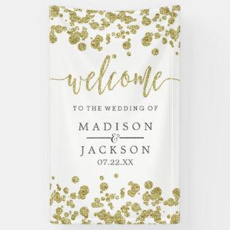 白及び金ゴールドの紙吹雪の結婚式の歓迎 横断幕