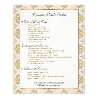 白及び金ゴールドの花のダマスク織のネイルメニューリスト チラシ