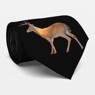 白後につかれるシカ(木びき台) ネクタイ