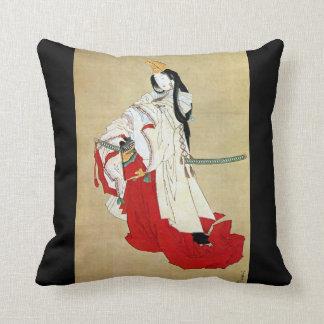 白拍子、Hokusai、Ukiyo-e、北斎のShirabyōshiのダンサー クッション