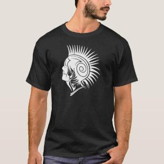 白熱のパンクの入れ墨の種族のモホーク族の人の頭部 Tシャツ