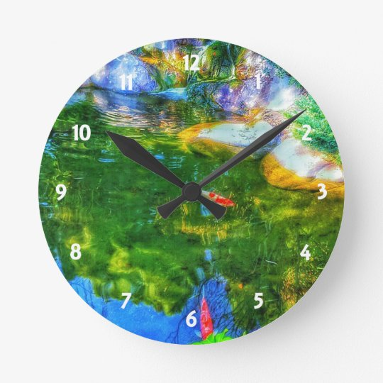 白熱反映の池 ラウンド壁時計