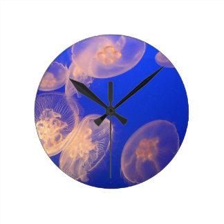 白熱[赤熱]光を放つなくらげの時計 ラウンド壁時計