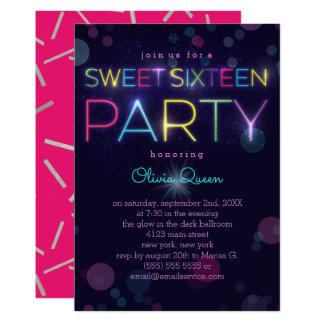 白熱[赤熱]光を放つなネオンSweet sixteenのパーティの招待状 カード