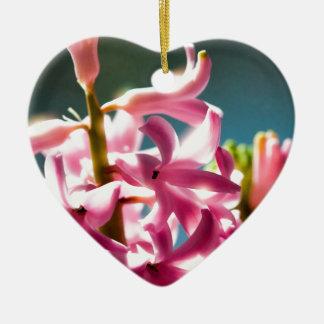 白熱[赤熱]光を放つな太陽に照らされたピンクのHyacinthの花 セラミックオーナメント