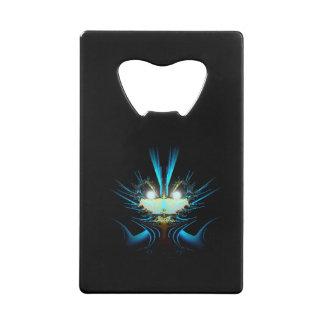 白熱[赤熱]光を放つな目の青のエイリアン クレジットカード栓抜き