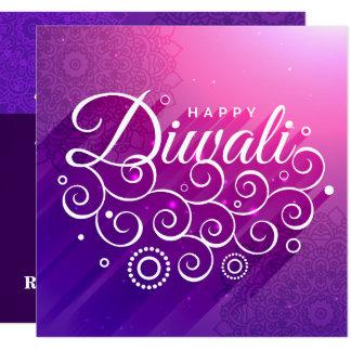 白熱[赤熱]光を放つな紫色の活気づいたRangoli幸せなDiwali カード
