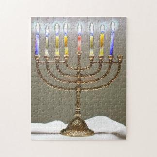 白熱[赤熱]光を放つな蝋燭のパズルとの(ユダヤ教)メノラー ジグソーパズル