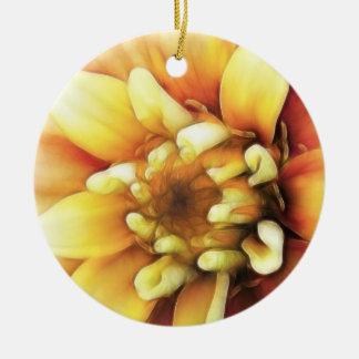 白熱[赤熱]光を放つな金《植物》百日草 陶器製丸型オーナメント