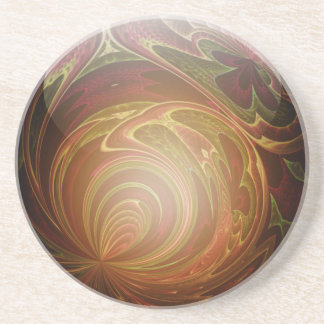 白熱[赤熱]光を放つな金、織り目加工のガラス大理石の抽象芸術 コースター