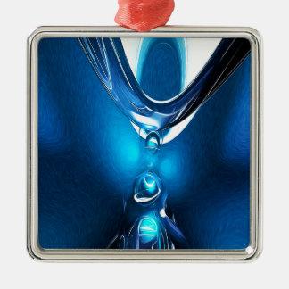 白熱[赤熱]光を放つな青の抽象芸術 メタルオーナメント