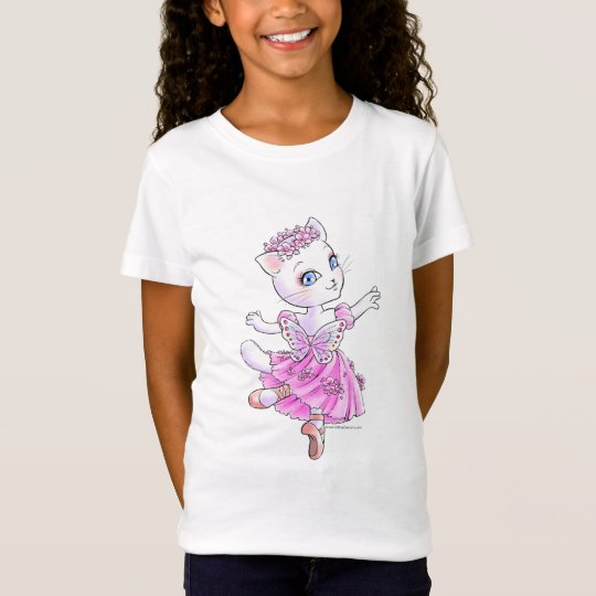 白猫バレリーナ ガールズベビードール Tシャツ